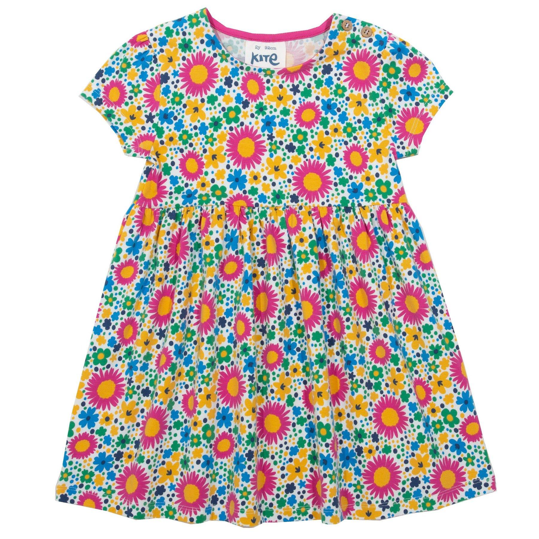 Blumenkleid für die Kleinen, Kurzarm, Bio- Jearsey