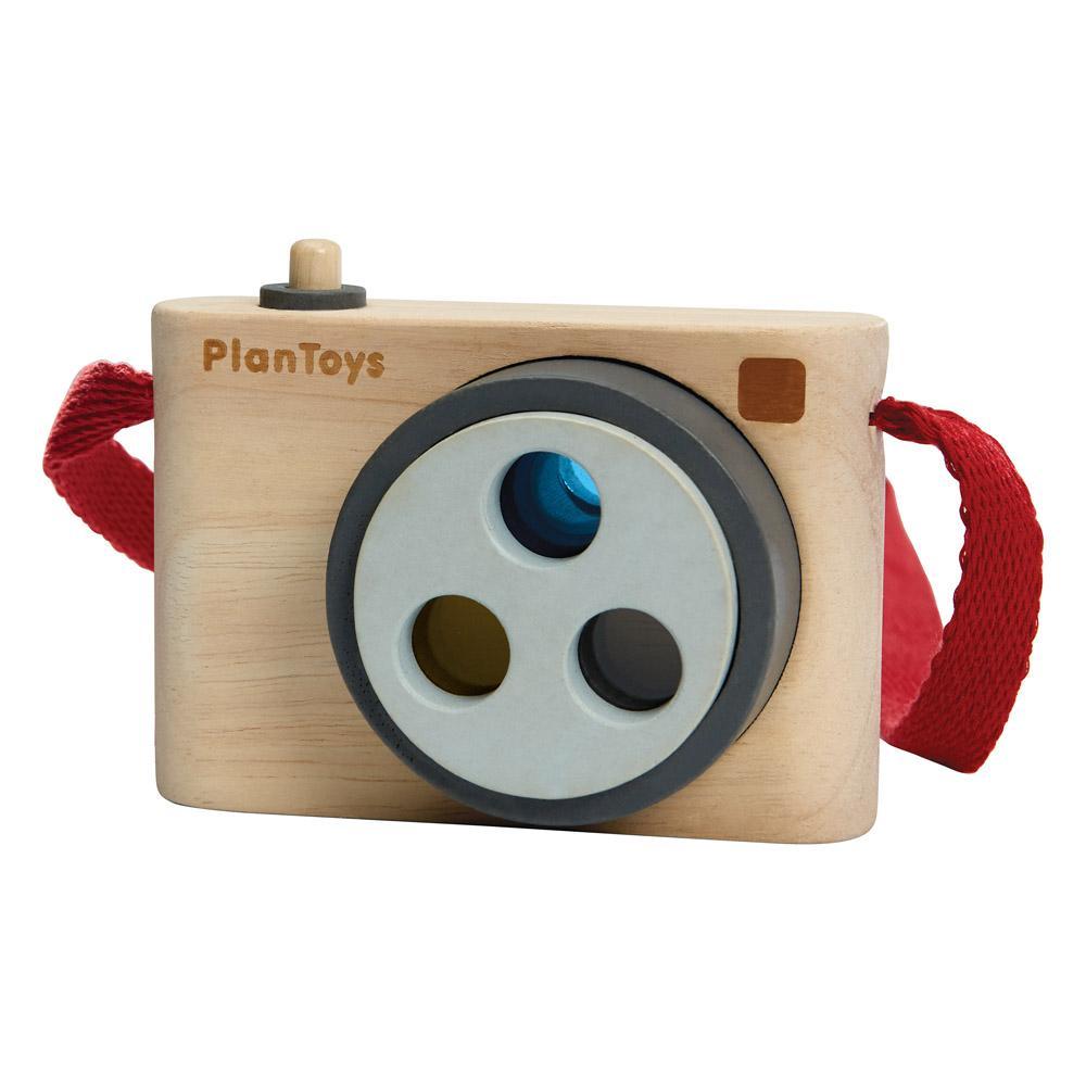 Fotokamera aus Holz mit Farbeffekten