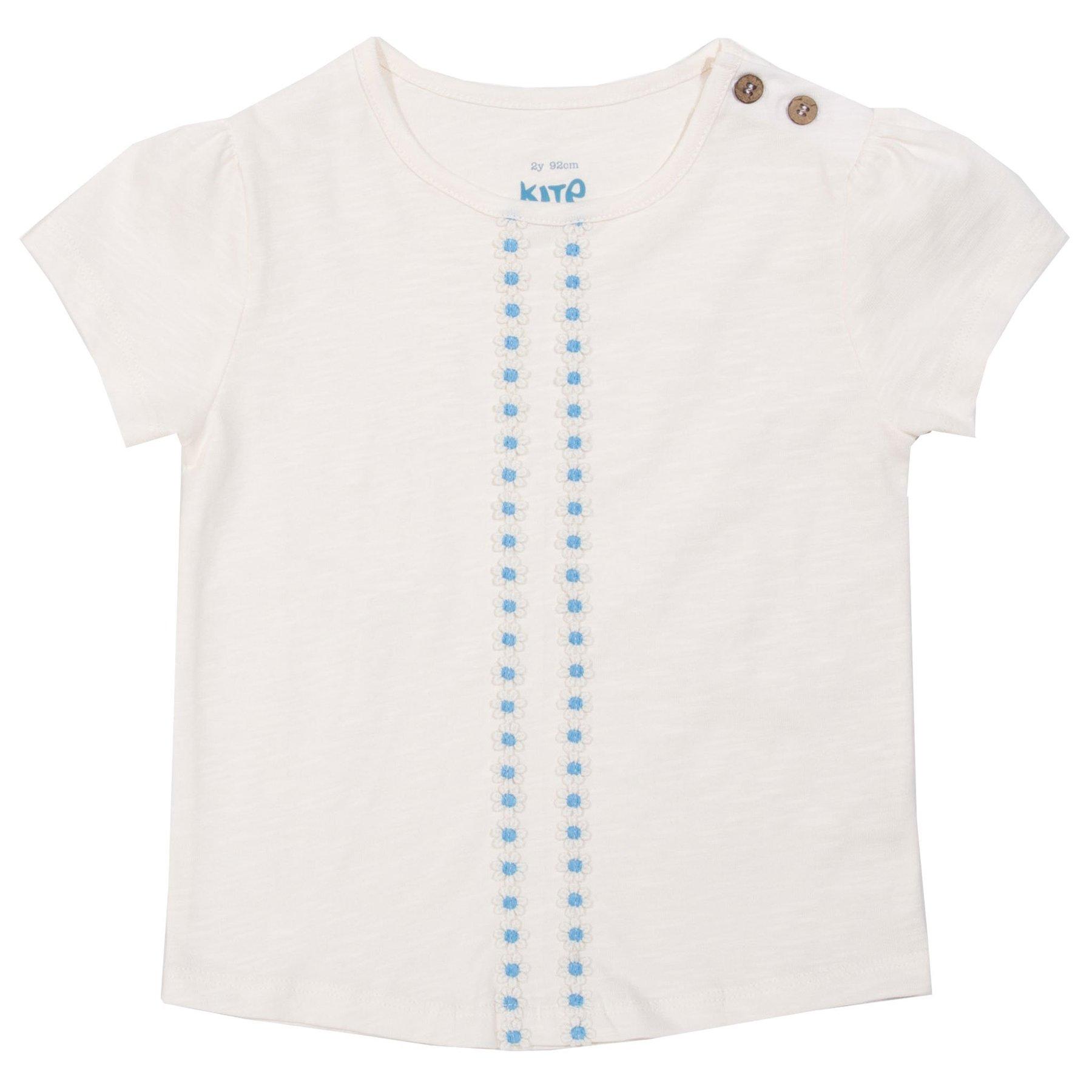 T-Shirt, weiss mit Blümchen, leichte Bio-Baumwolle