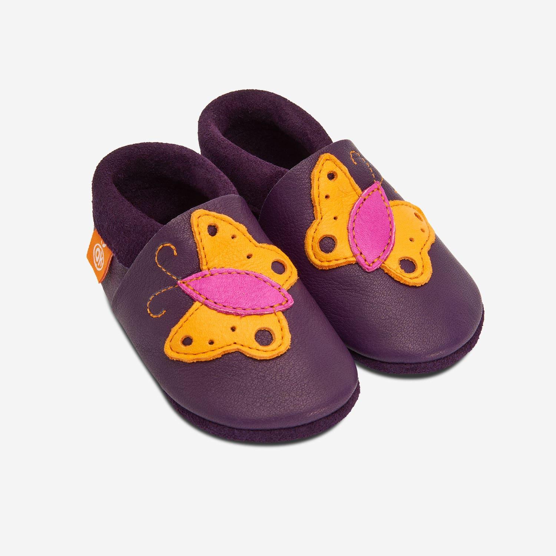 Lederhausschuhe Schmetterling