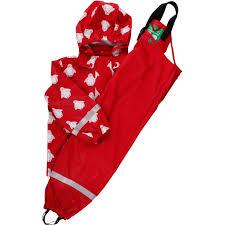 Regenjacke und Matschhose in rot mit Pinguinen, Freds World