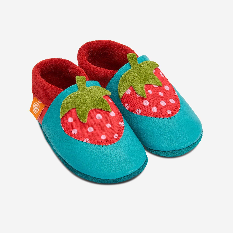 Lederhausschuhe Erdbeere