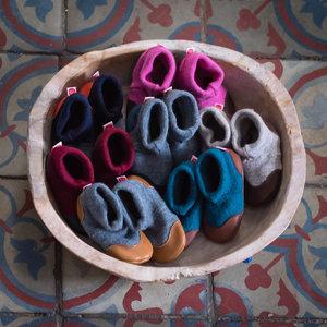 Krabbel-und Hausschuhe Wolle/Leder